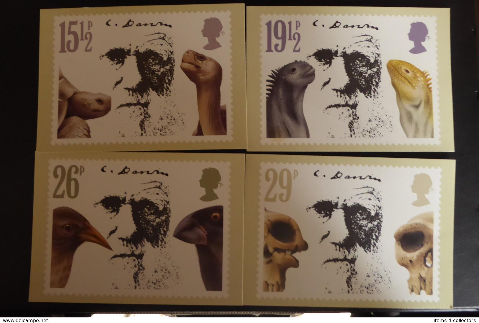 GREAT BRITAIN SG 1175-78 CHARLES DARWIN DEATH ANNIVERSARY POSTMARK WINDSOR PHQ - Cartas Máxima