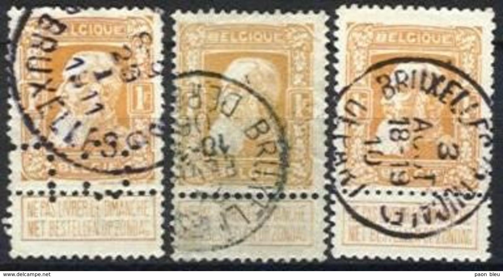 Belgique - Grosse Barbe N°79 Obl 3 Exemplaires Obl BRUXELLES DEPART, R.DUCALE, G, Dont Perforé CL - 1905 Barbas Largas