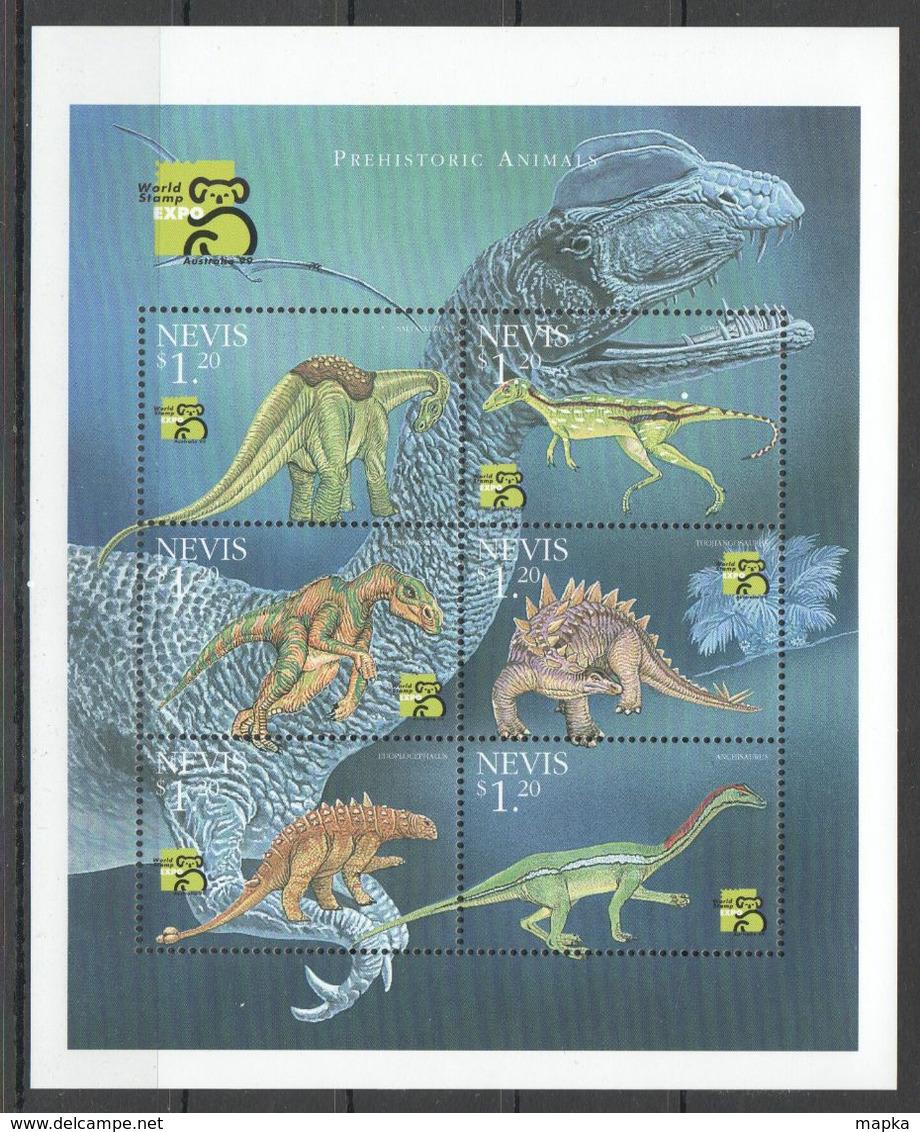 A018 1999 NEVIS FAUNA PREHISTORIC ANIMALS DINOSAURS 1KB MNH - Tartarughe