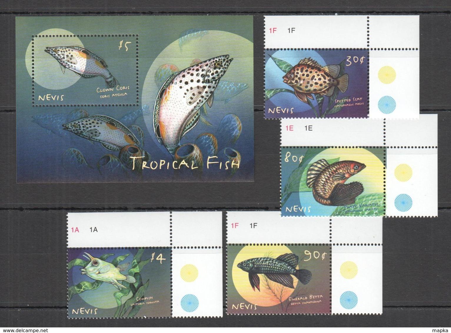 A042 NEVIS FAUNA MARINE LIFE TROPICAL FISH 1BL+1SET MNH - Pesci