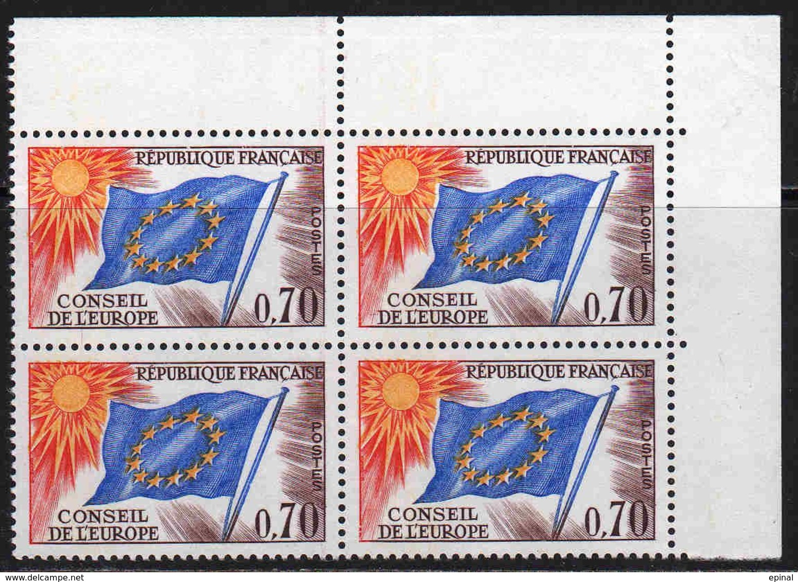 FRANCE : Service N° 35 ** Bloc De 4 Coin De Feuile - PRIX FIXE : 1/3 De La Cote - - Neufs