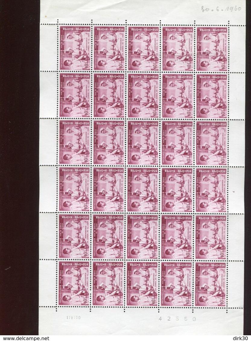 Belgie 1960 1140 Congo Independence Blood Transfusion Medicine Luppi Full Sheet MNH Plaatnummer 4 - Feuilles Complètes