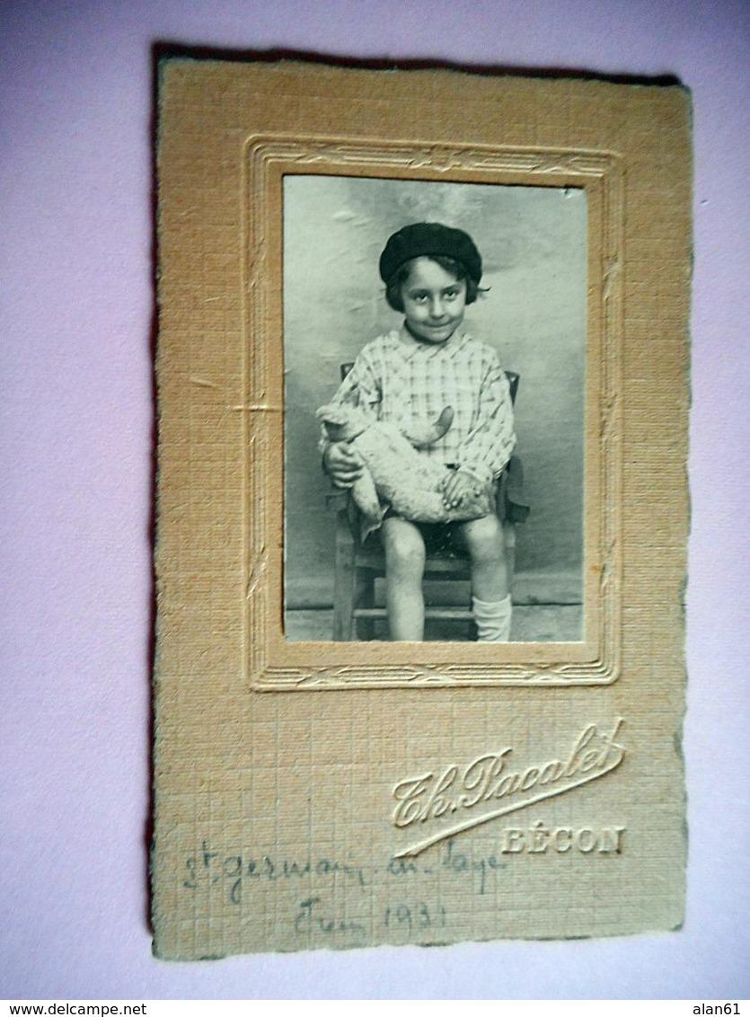 PHOTO CDV  1931 ENFANT ET SON NOUNOURS MODE  Cabinet  A BECON - Ancianas (antes De 1900)