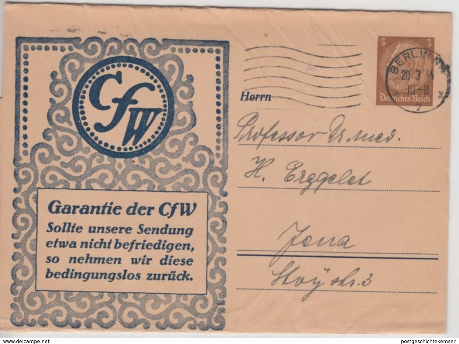 DR - CfW, 3 Pfg. Hindenburg, Privat-GA-Streifband, Berlin - Jena 1934 - Germany