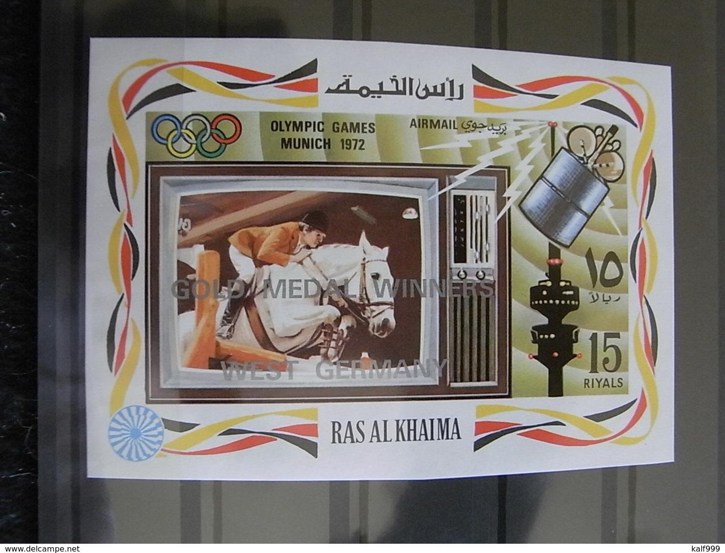 ✔️ Ras Al Khaima 1972 - Olympic Games 1972 Munchen Silver Overprint IMPERF -  Mi. 831B/837B ** MNH - RARE €120 - Verano 1972: Munich