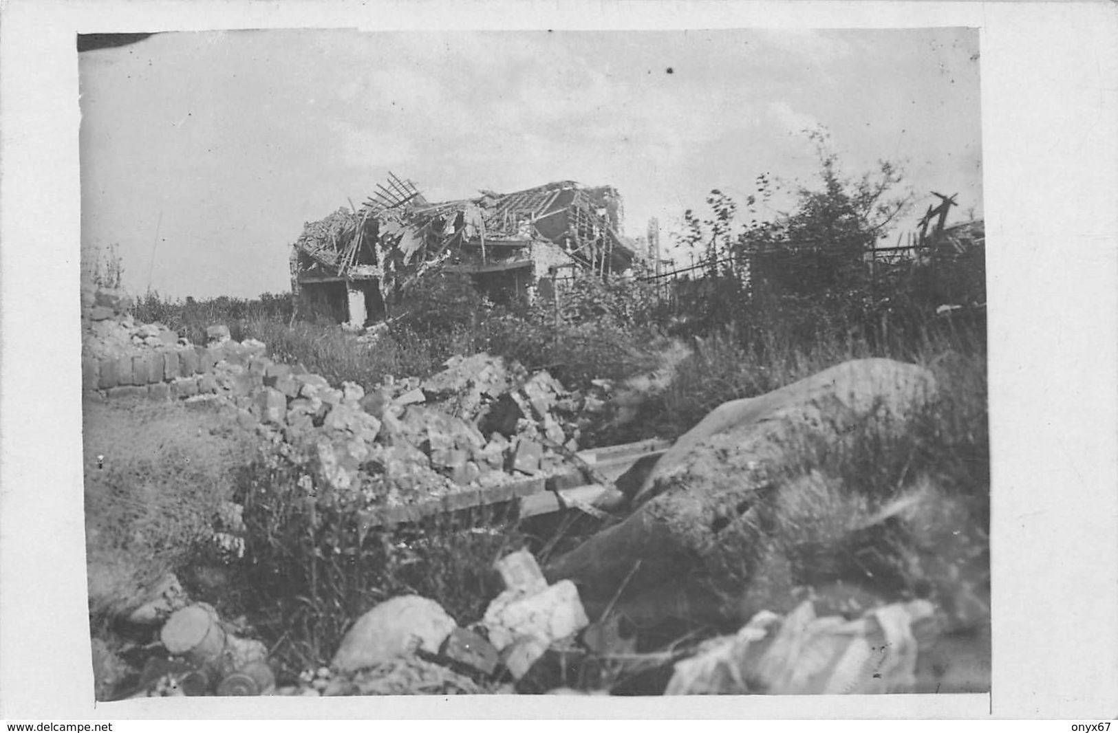 Carte Postale Photo Militaire Allemand AUCHY LEZ LA BASSEE (Pas De Calais) Vue Sur Village En Ruine-Krieg-Guerre 14/18 - Photographs