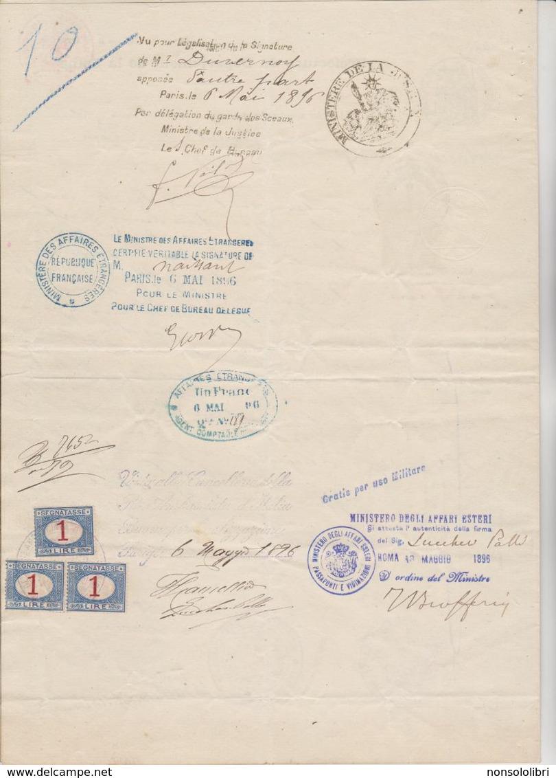 CERTIFICATO  DI STATO CIVILE FRANCESE DEL 1896  CON TRE SEGNATASSE DA LIRE 1 USATE COME CONSOLARI - Fiscale Zegels