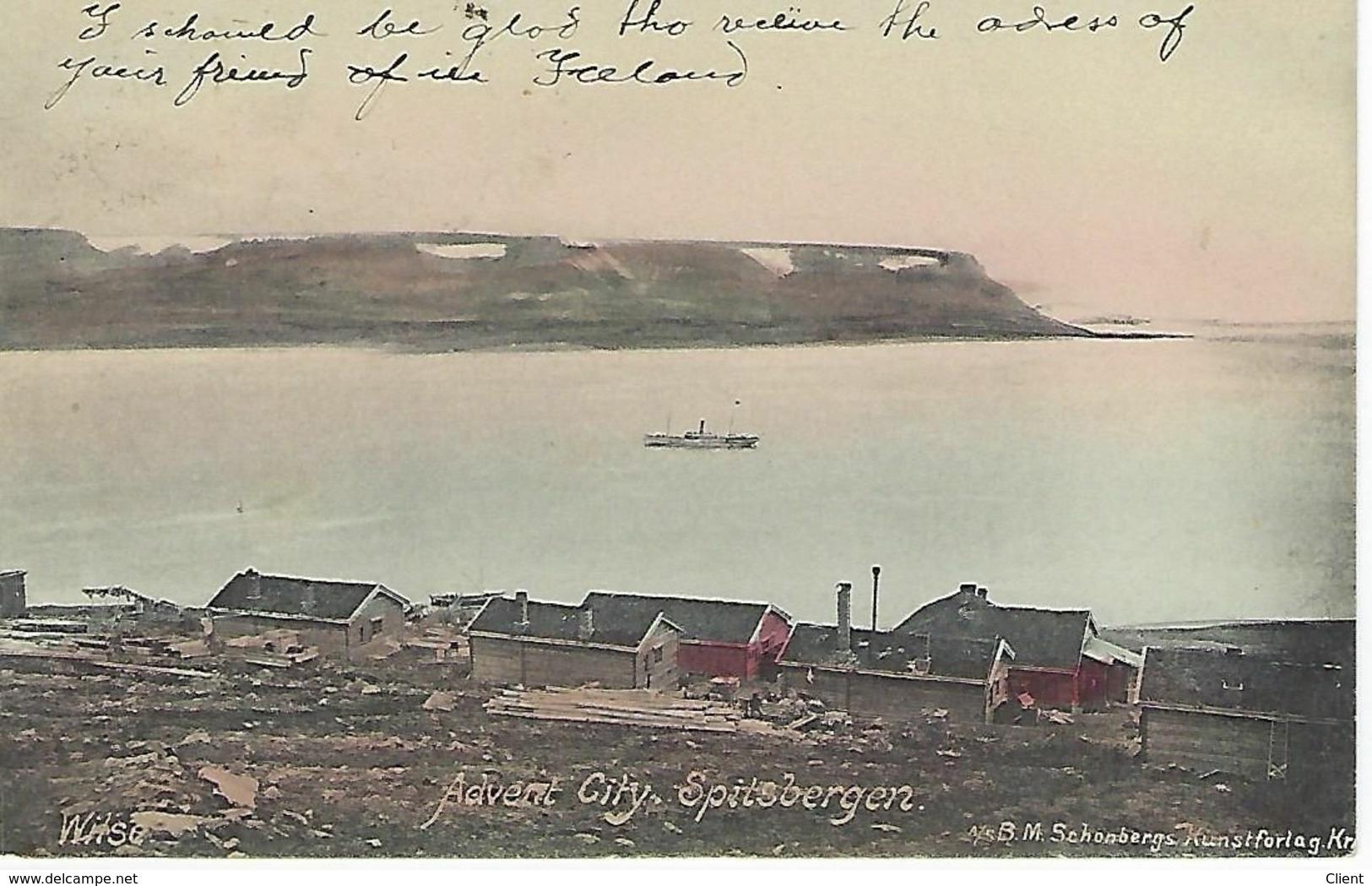 NORVEGE - TRES RARE EN COULEUR - SPITSBERGEN - Advent City - 1907 - Norvège