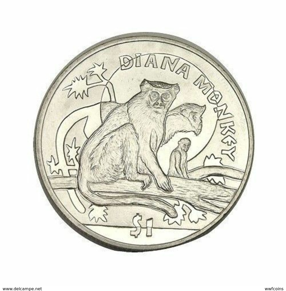 SIERRA LEONE 1 DOLLARO 2009 SCIMMIA DIANA MONKEY FDC - Sierra Leone