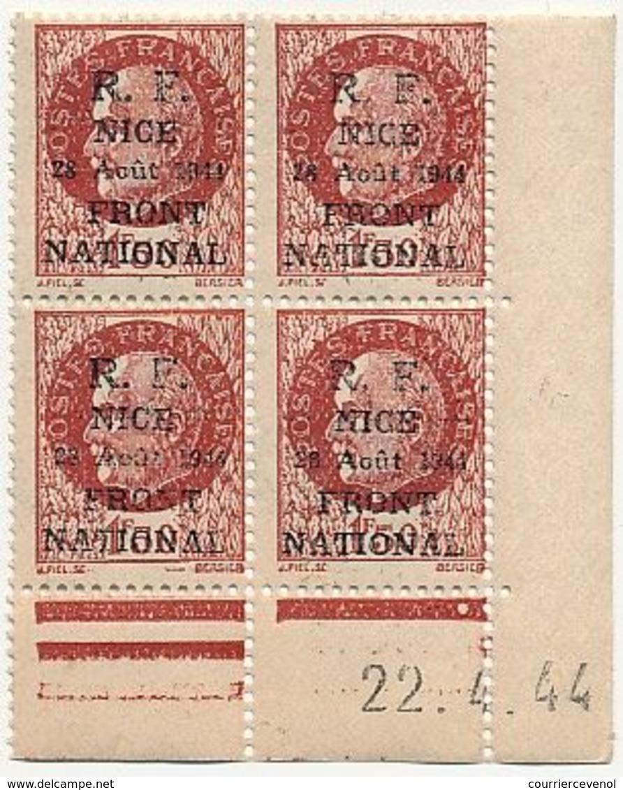 FRANCE - Série De NICE / R.F. 12 Août 1944 / Front National - Neufs En Coins Datés - SUP - Libération