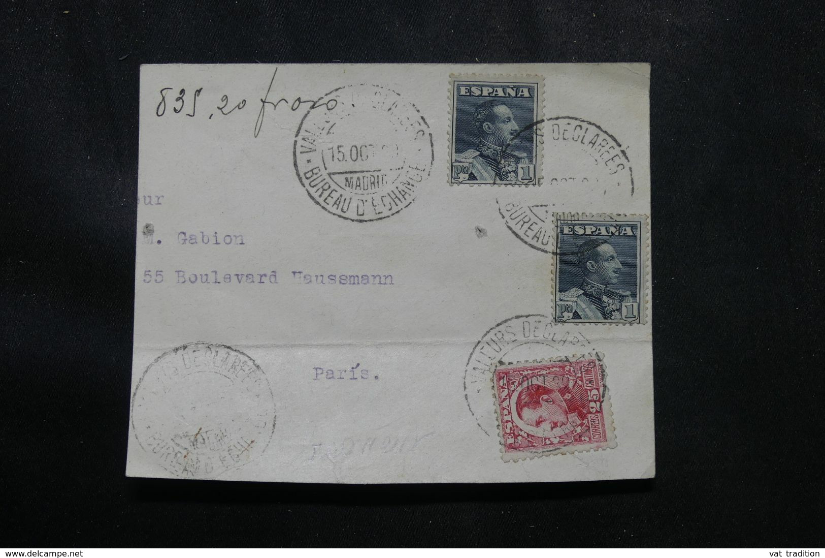 """ESPAGNE - Oblitération """" Valeurs Déclarées Bureau D'échange """" Sur Fragment D'enveloppe Pour Paris En 1930  - L 70038 - Cartas"""