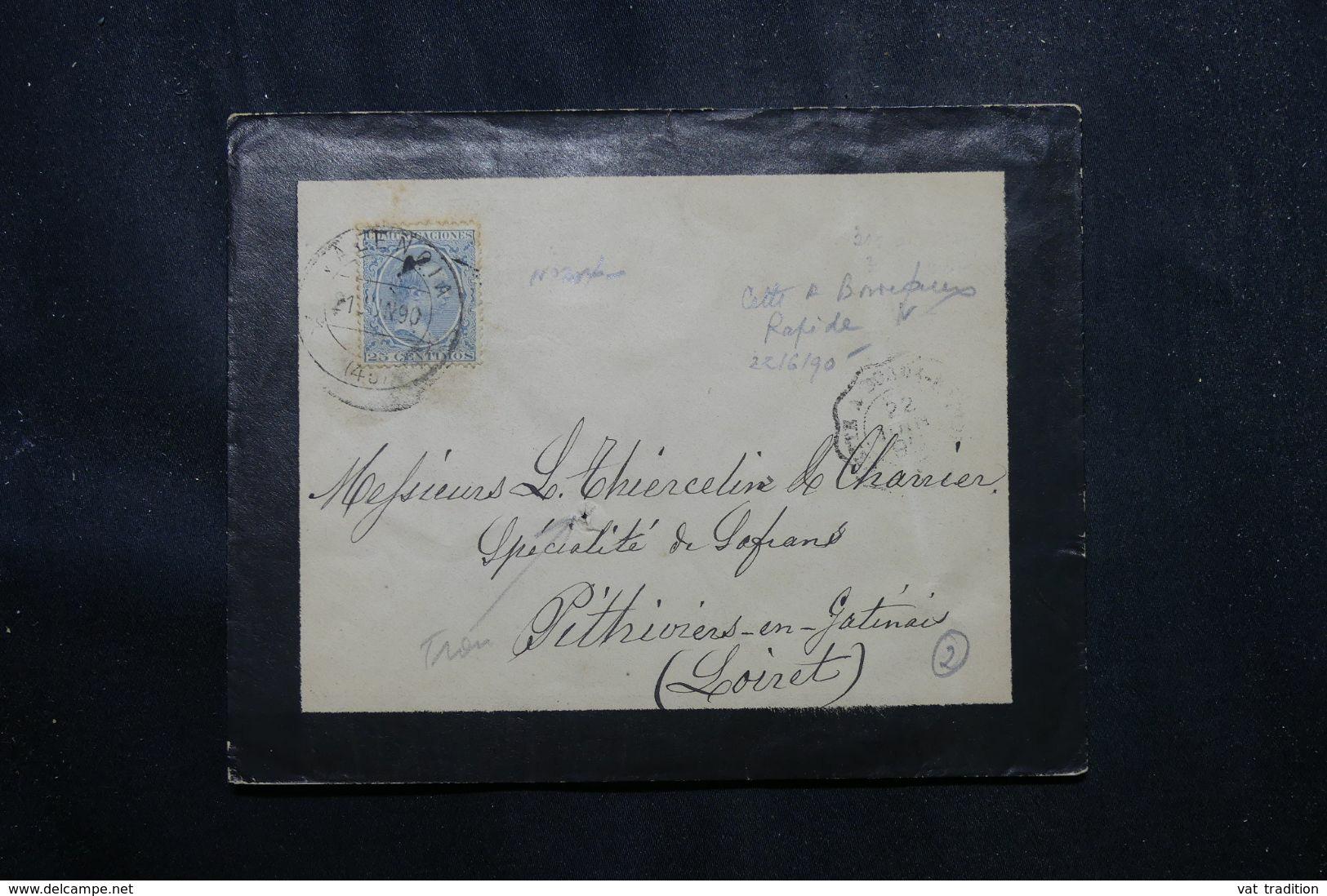 ESPAGNE - Enveloppe De Valencia Pour La France En 1890 - L 70181 - Covers & Documents