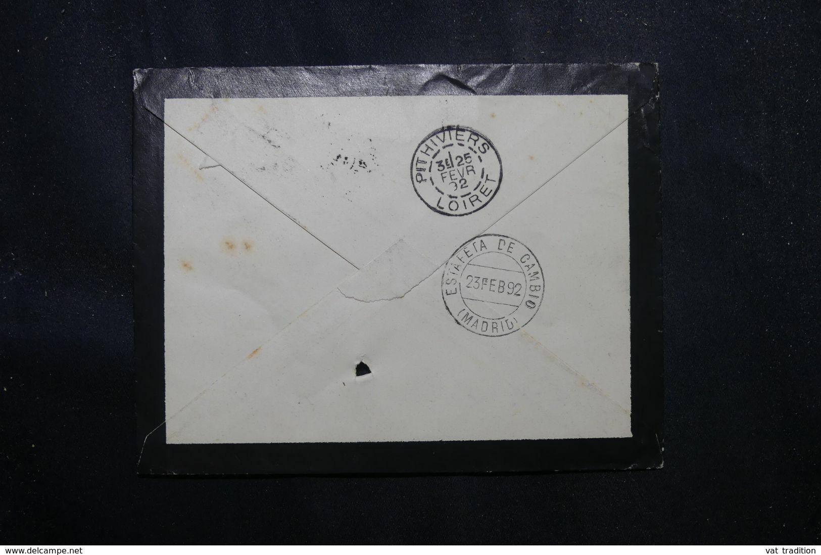 ESPAGNE - Enveloppe Pour La France En 1892 , Cachet D'entrée En France Par Irun - L 70182 - Cartas