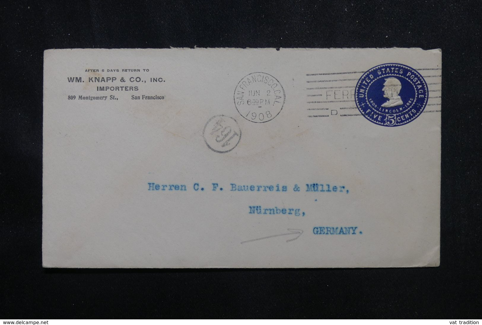 ETATS UNIS - Enveloppe Commerciale De San Francisco En 1908 Pour L 'Allemagne - L 70653 - 1901-20