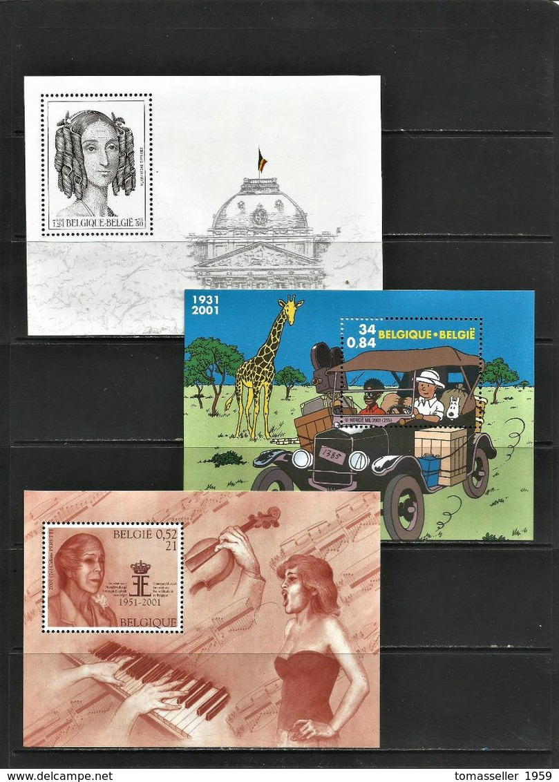 BELGIUM  2001 Full Years Set  (stamps+s/s/+bookl.) - Años Completos