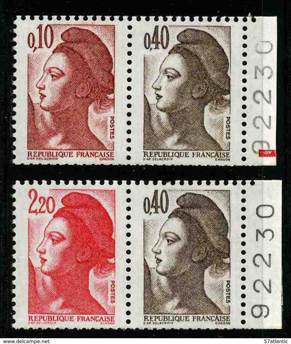 FRANCE - YT 2179a Et 2376b ** - LIBERTE - 2 PAIRES DE TIMBRES NEUFS ** DE CARNET - 1982-90 Liberty Of Gandon