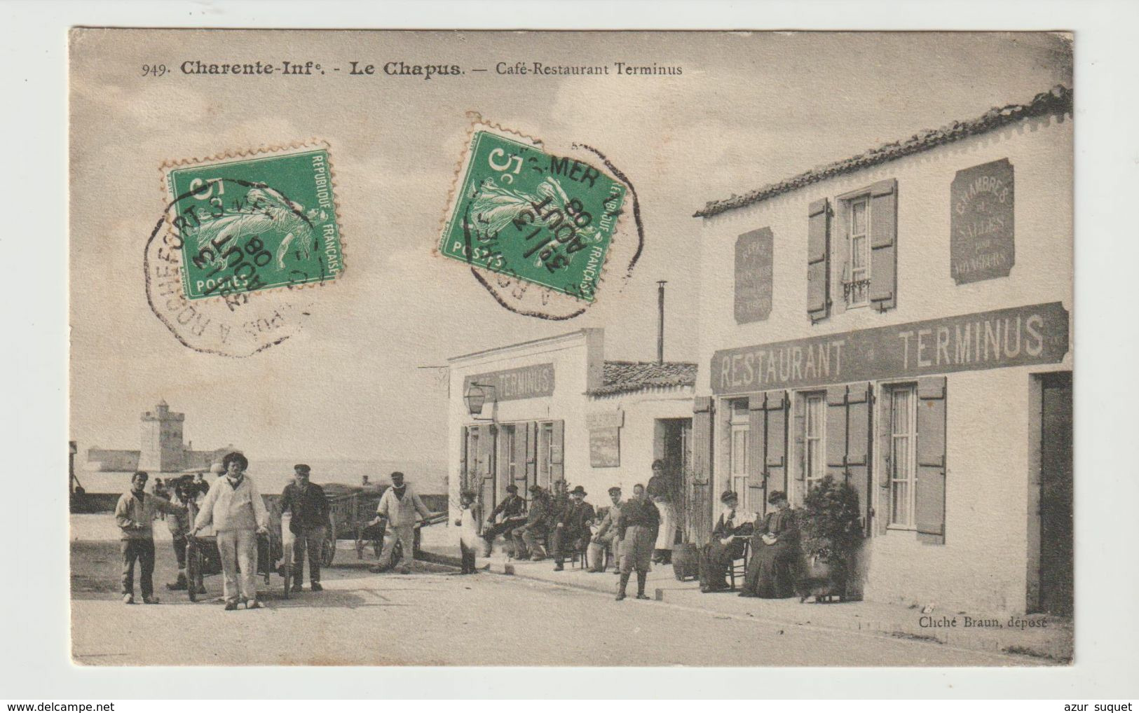 FRANCE / CPA / LE CHAPUS / CAFE RESTAURANT TERMINUS / CACHETS CONVOYEURS / 1908 - Andere Gemeenten