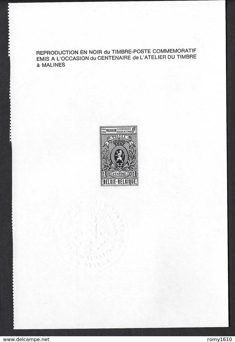 Belgique - N°1447 - Atelier Du Timbre à Malines - REPRODUCTION EN NOIR - 1968 - Zwarte/witte Blaadjes