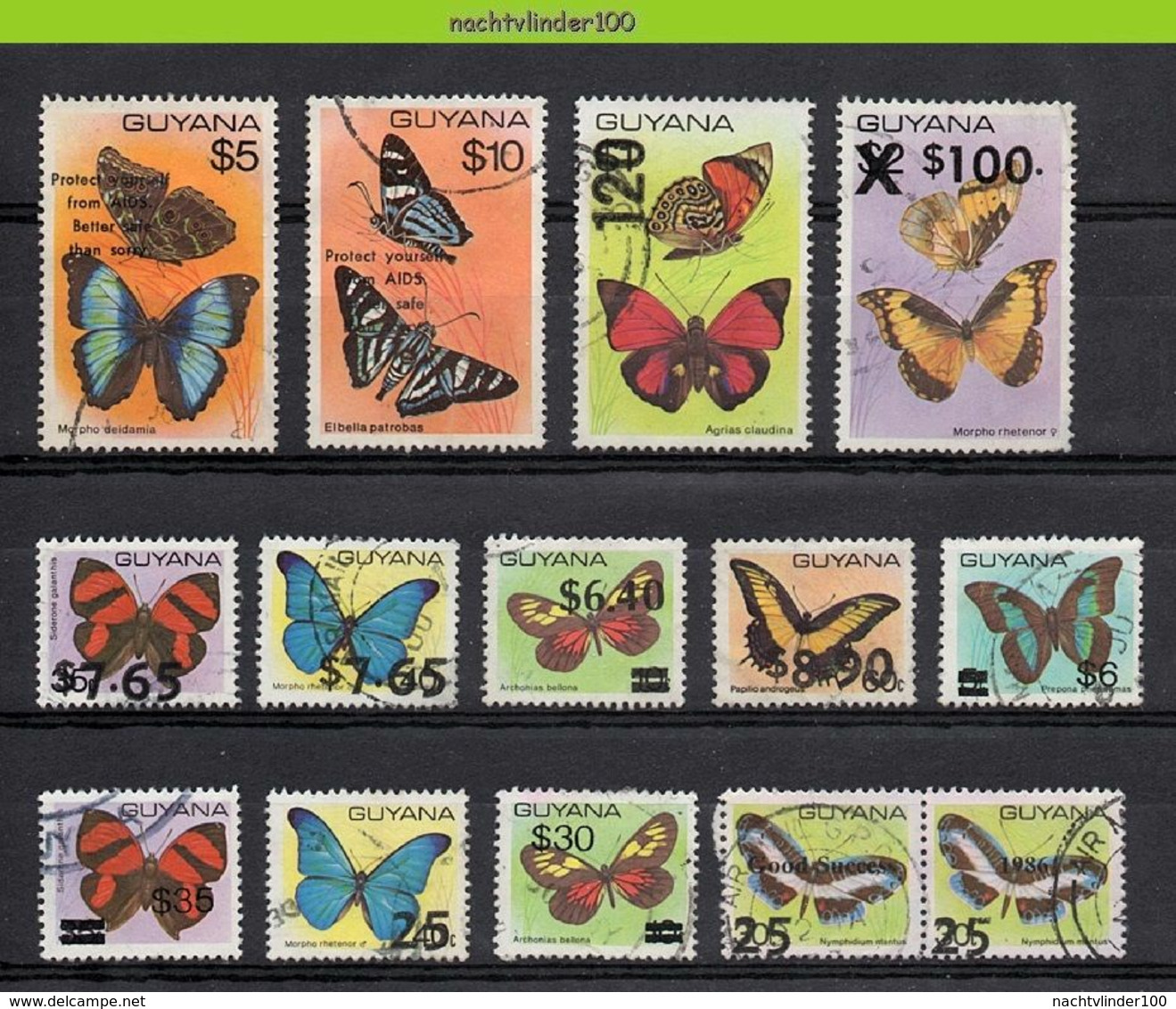 Mwe2751 FAUNA VLINDERS * OPDRUK OVERPRINT * BUTTERFLIES SCHMETTERLINGE MARIPOSAS PAPILLONS GUYANA Gebr/used - Butterflies