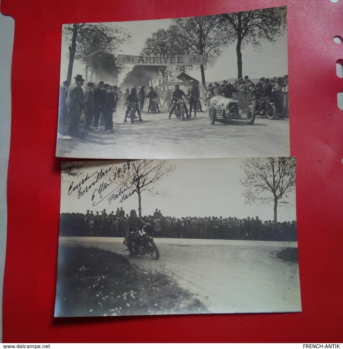 MAGNIFIQUE 4 CARTES PHOTOS TORVILLERS AUBE COURSE MOTO SANDFORD SAROLEA 1928 RARE - Other Municipalities