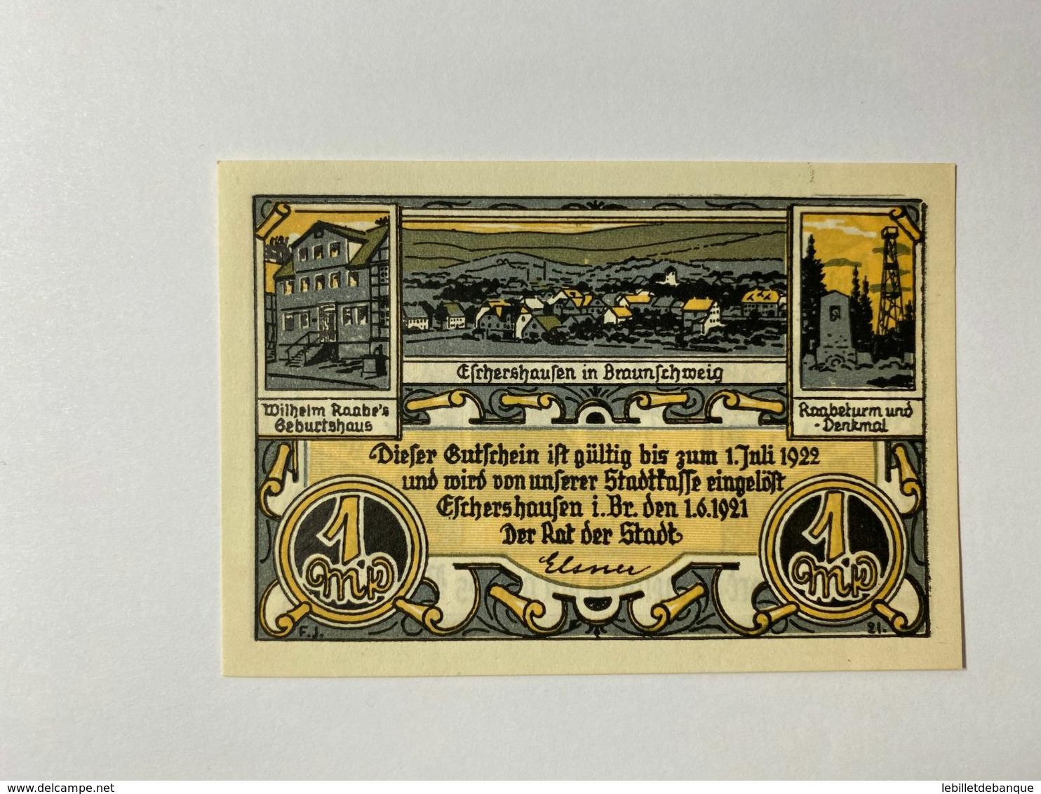 Allemagne Notgeld Eschershausen 1 Mark - Collections