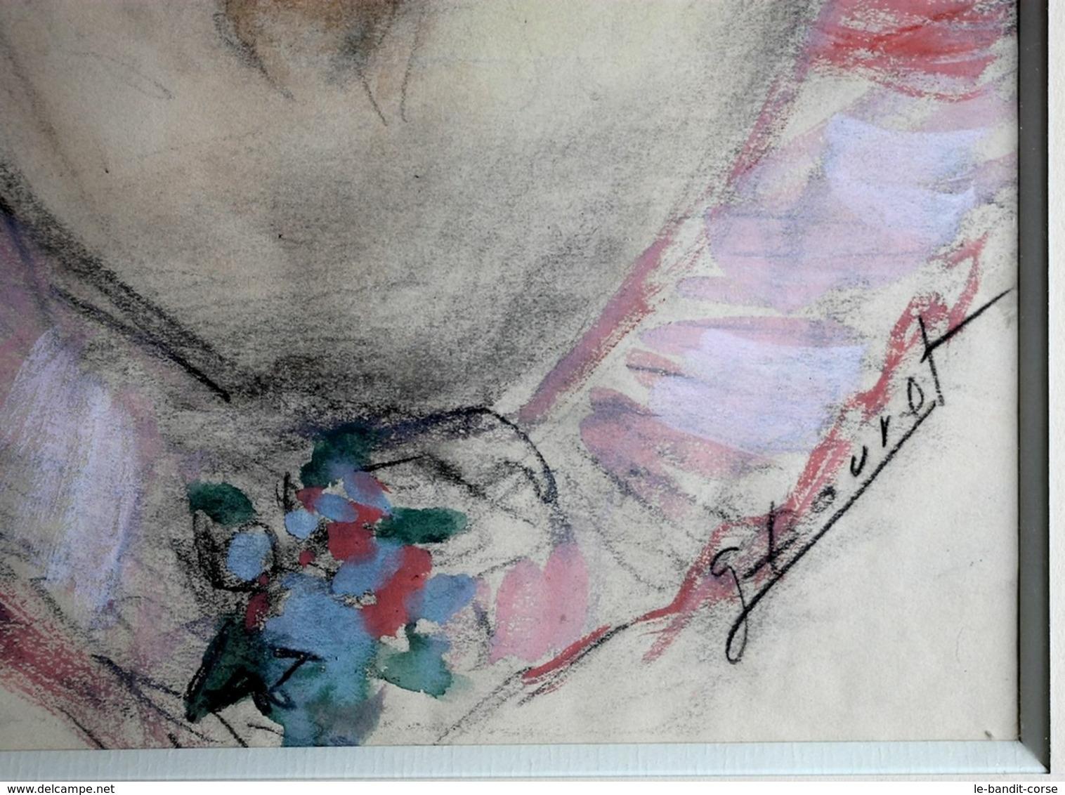Pièce Unique Originale Et Signée De Germaine Bouret - Portrait De Jeune Fille - Prix De Départ 1€ Sans Prix De Réserve - Bouret, Germaine