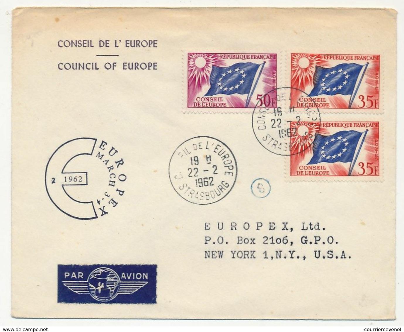 FRANCE - Env Reco, Affr 35F X2, 50F Drapeau - Conseil De L'Europe 22/2/1962 - Pour USA - EUROPEX March 3-4-1962 + Puce 8 - Lettres & Documents