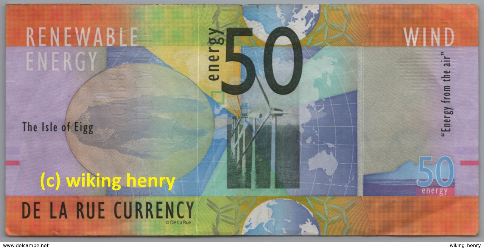 Geldschein The Isle Of Eigg Schottland Scotland 50 Energy Wind De La Rue Currency - Altri