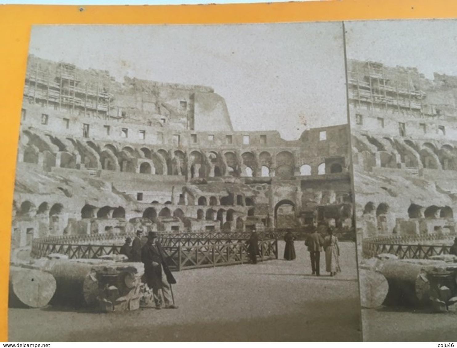 1890 1900 Ancienne Carte Stéréoscopique ROME ROMA Animée 19 ème Siècle Intérieur Du Colisée Coliseum - Colisée