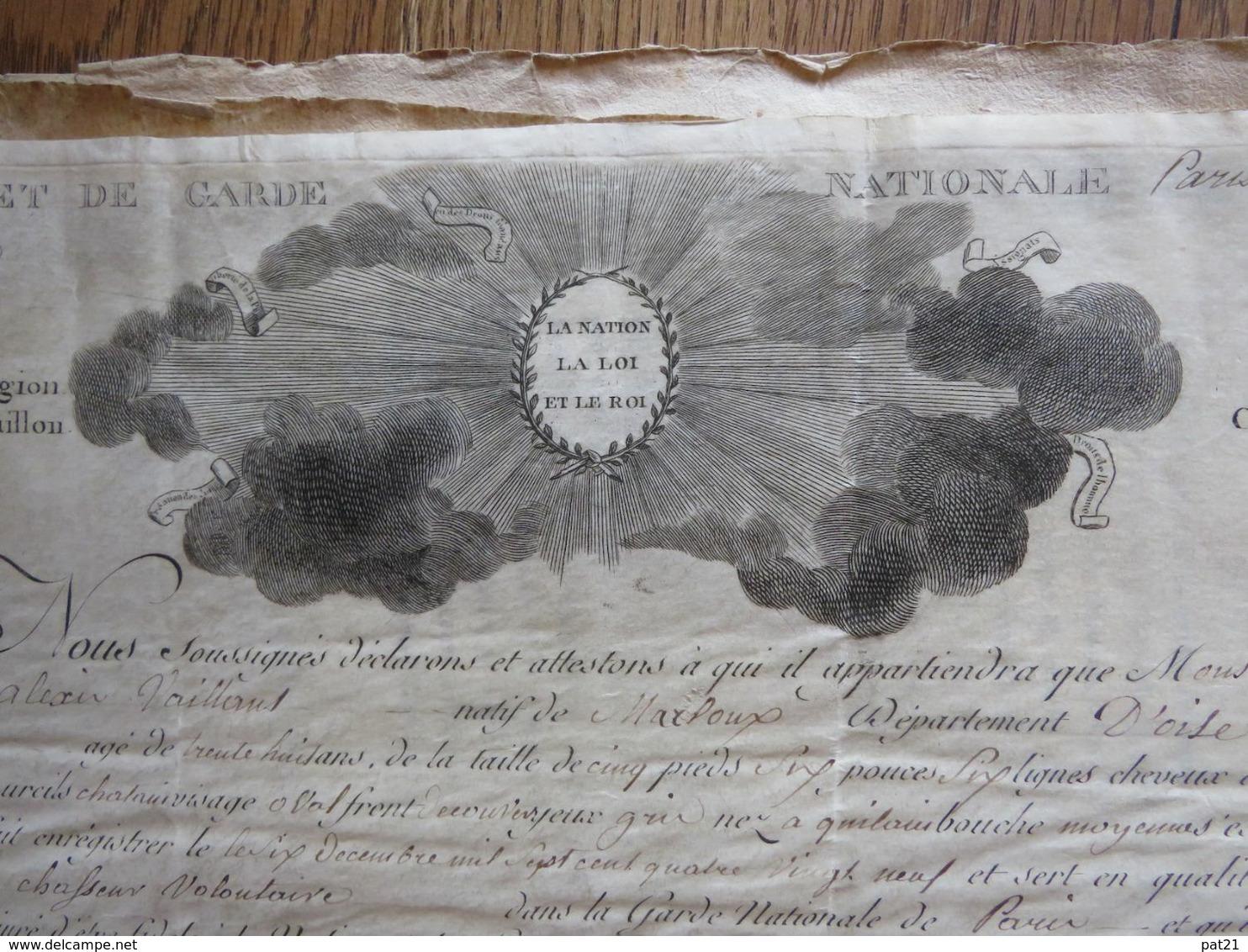 """Révolution: Brevet De Garde Nationale Parisienne 1792, Cachet """"section Des Tuileries""""  5e Lég.  9e Bat Cie Des Chasseurs - Historical Documents"""