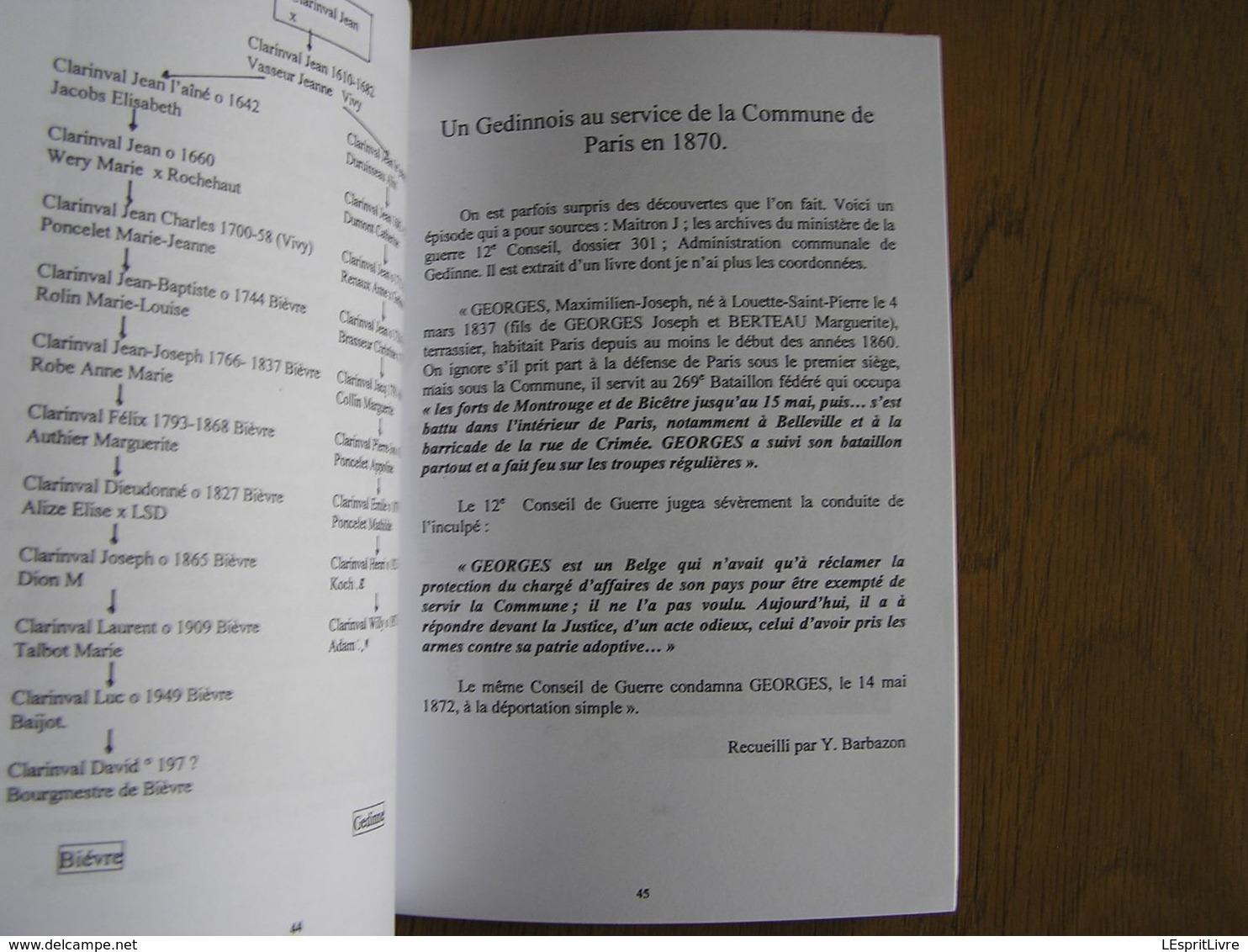 Bulletin CEHG N° 23 Gedinne Régionalisme Lieux Dits Rienne Wallon De La Semoy Travaux De Filles Clarinval - Belgique