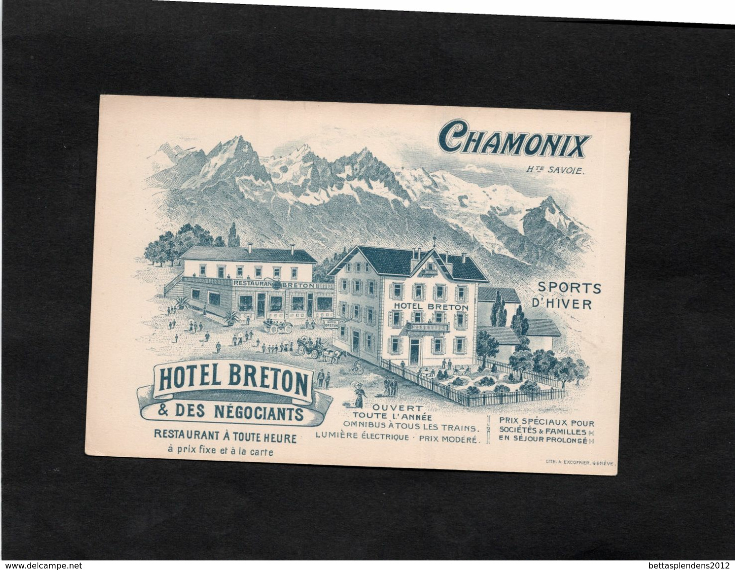 Carte Publicitaire Illustrée - CHAMONIX - HOTEL BRETON & DES NEGOCIANTS - SPORTS D'HIVER - Chamonix-Mont-Blanc