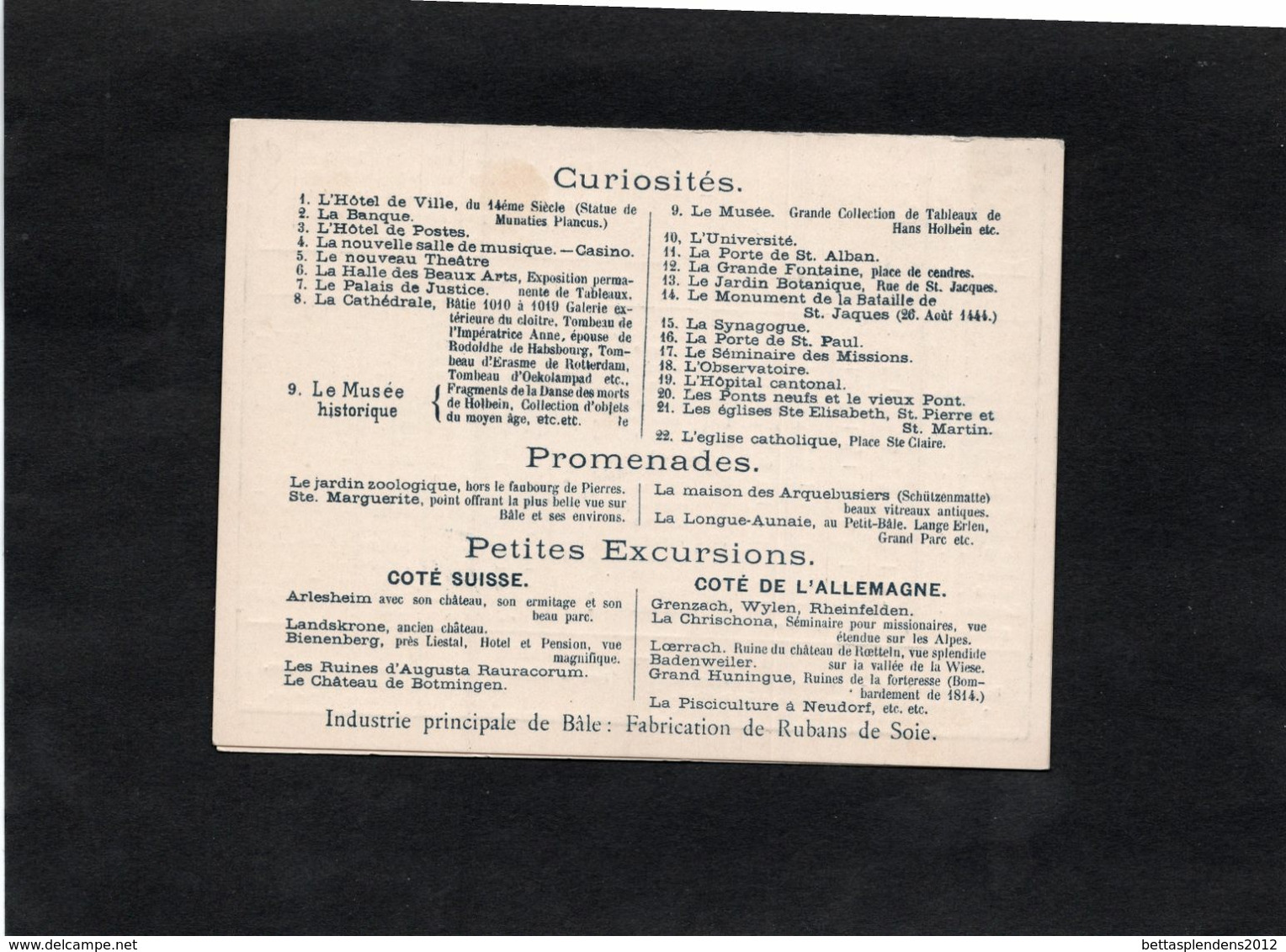 Carte Publicitaire Illustrée - HOTEL DES TROIS ROIS - C. FLUCK. Propriétaire à BÂLE - BS Basle-Town
