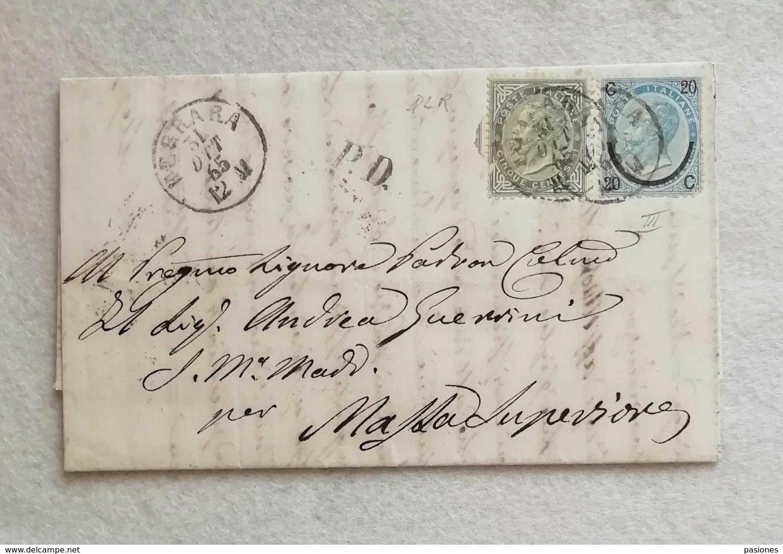 Lettera Da Ferrara Per Massa Superiore 1865 - Marcofilía