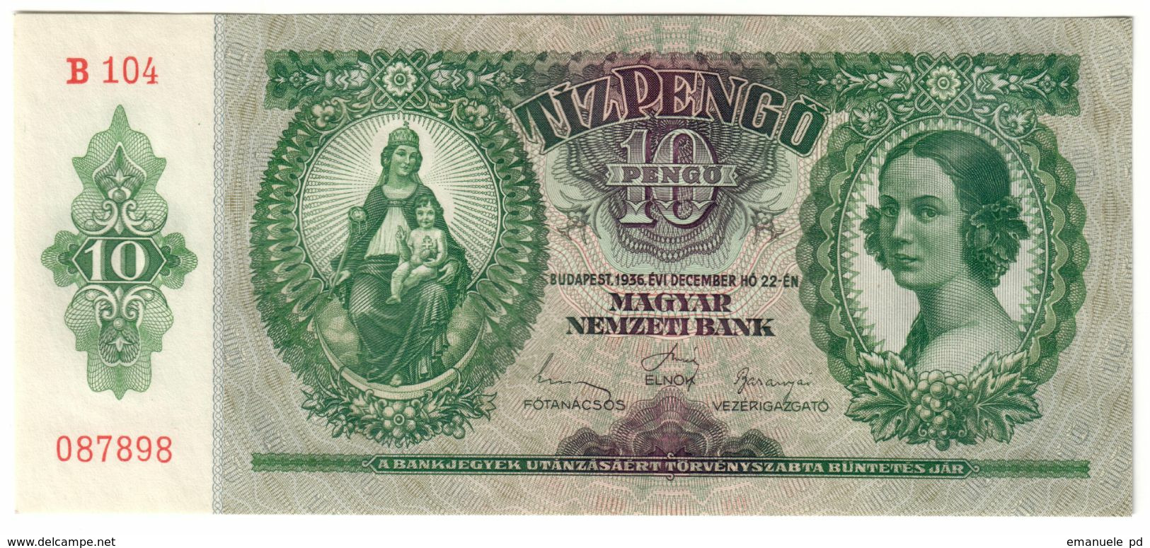 HUNGARY10PENGO22/12/1936P100UNC.CV. - Hongrie