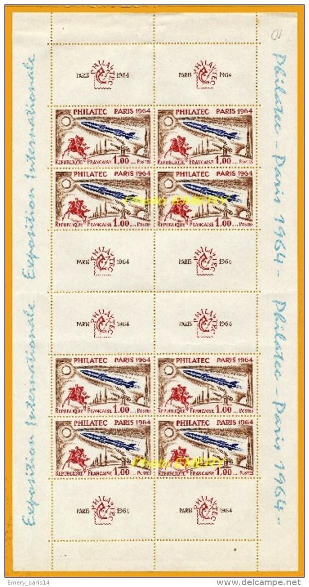 "France**LUXE 1964 Bloc 6 (p 1422) De 8 Timbres Avec 8 Vignettes, Vf 1,00 F (+3,oo F) Eposition Internationale ""PHILATEC - Mint/Hinged"