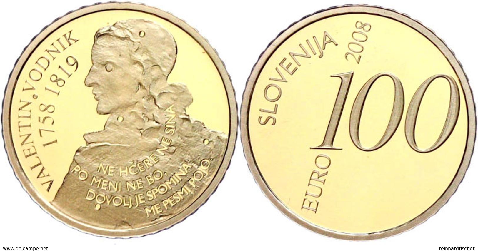 100 Euro, Gold, 2008, 250. Geburtstag Von Valentin Vodnik, Fb. 25, 900er Gold, 6,3 G Fein, In Kapsel, Mit Zertifikat In  - Slovenia
