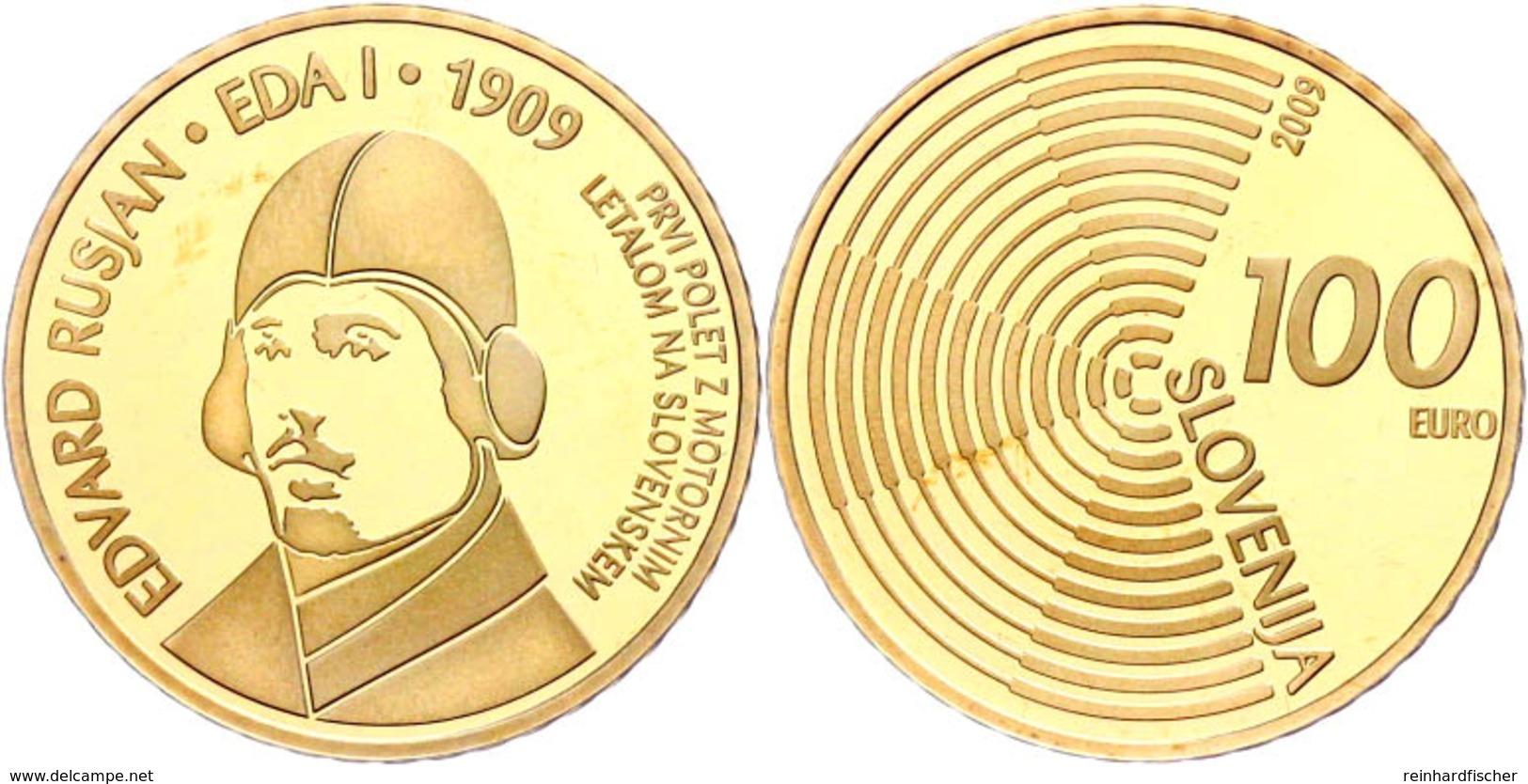 100 Euro, Gold, 2009, 100 Jahre Motorflug In Slowenien, Fb. 25, 900er Gold, 7 G,  In Kapsel, Mit Zertifikat In Holzschat - Slovenia