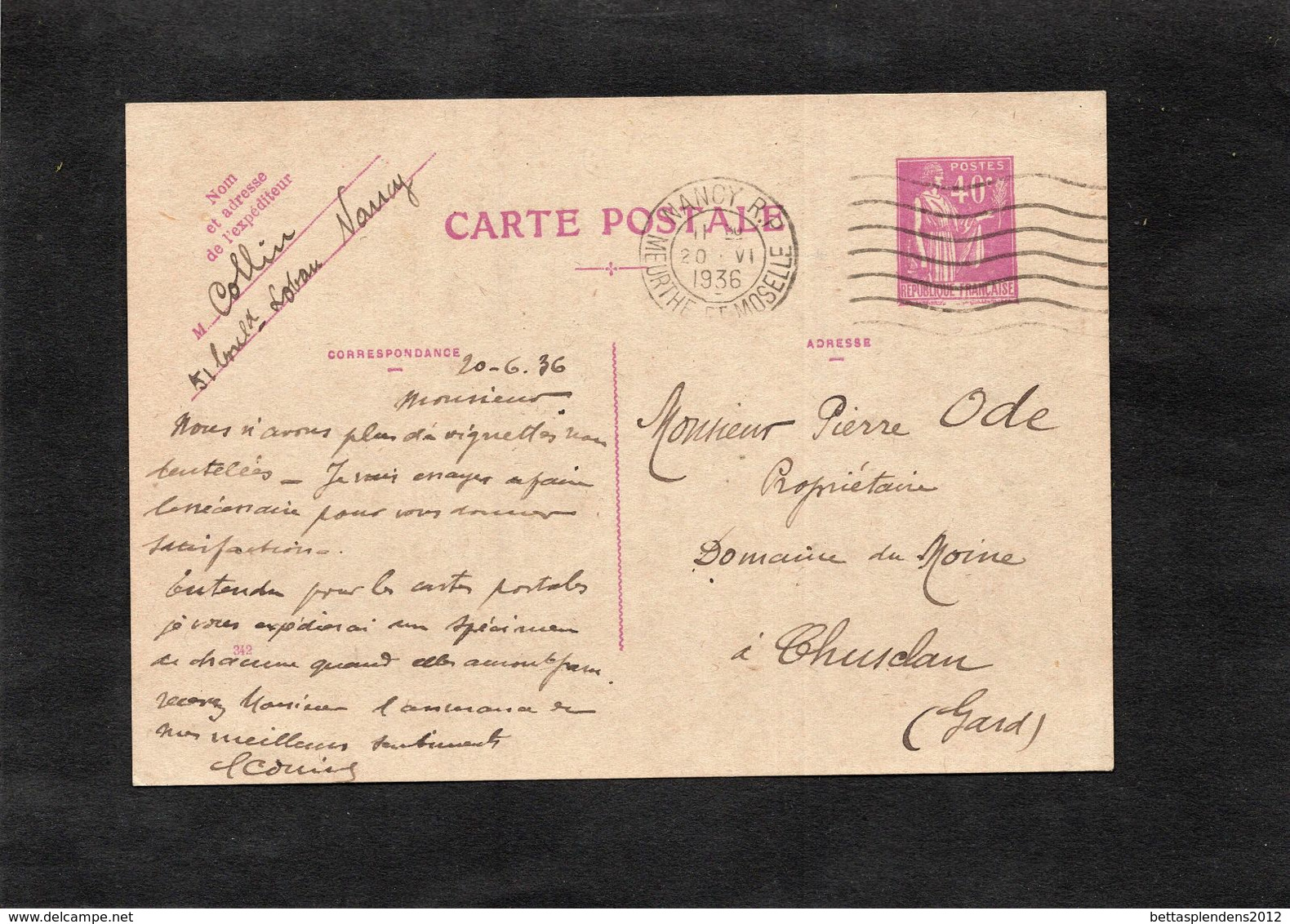 VITTEL 12-15 Aout 1934 - EXPOSITION PHILATELIQUE - Entier Postal Ayant Circulé - Cachet Hexagonal CHUSCLAN (Gard) - Ganzsachen