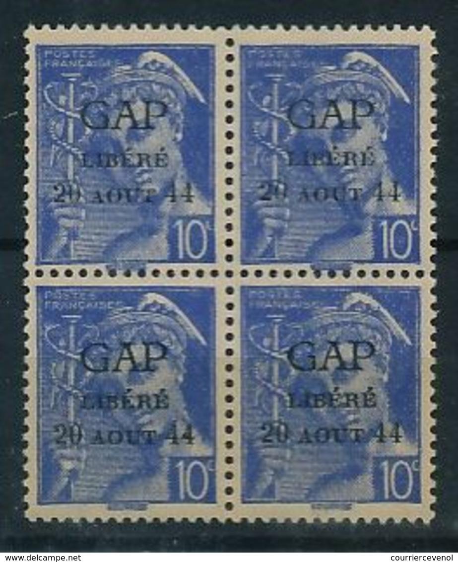 FRANCE - LIBERATION - Série De GAP - 4 Valeurs Neuves, Blocs De Quatre, Cachet Violet Comité Dep. Libération Au Dos - Liberation