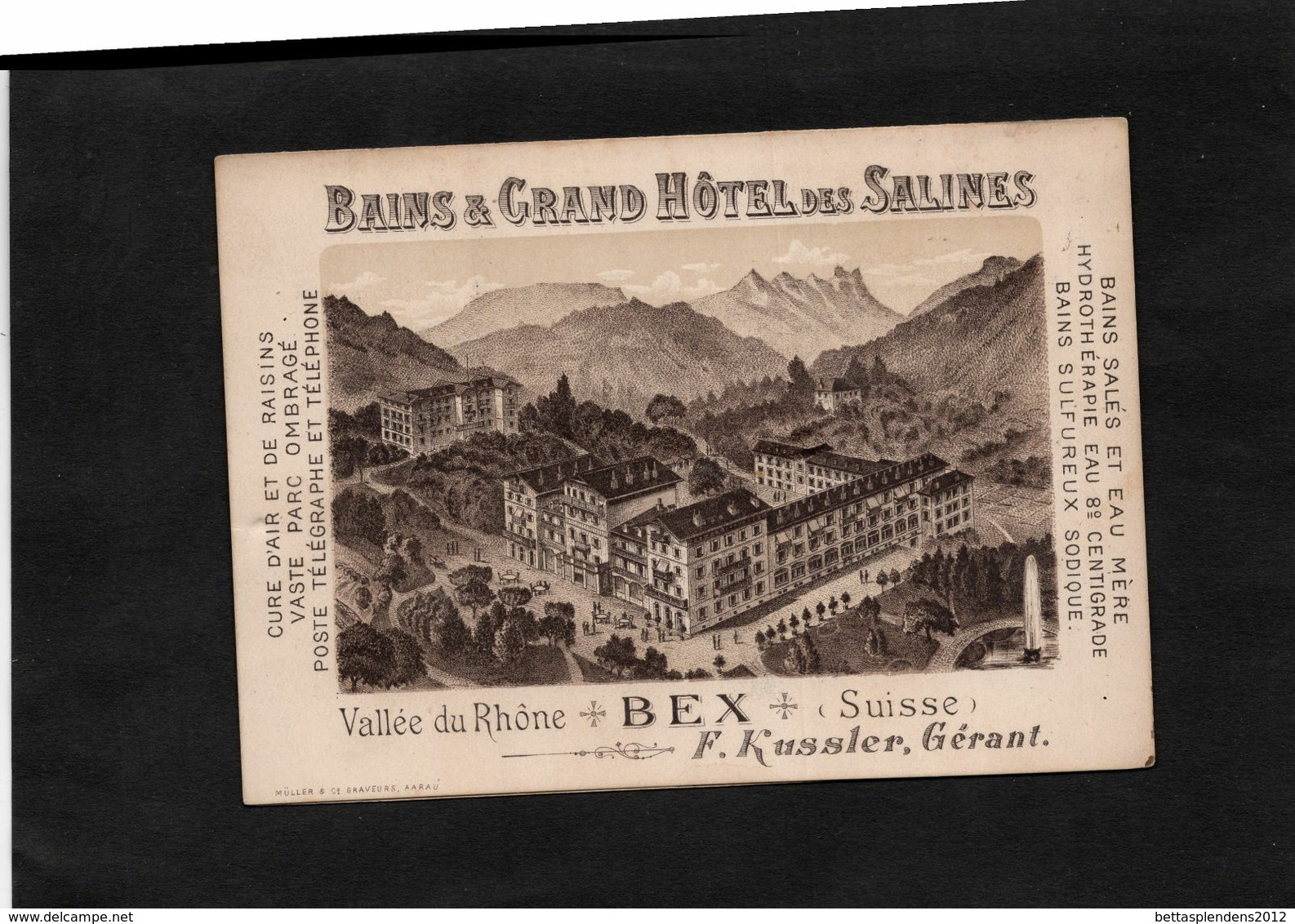 BEX (Suisse) - BAINS & GRAND HOTEL Des SALINES - F.KUSSLER Gérant - Liste Des Excursions Et Carte. - Reclame