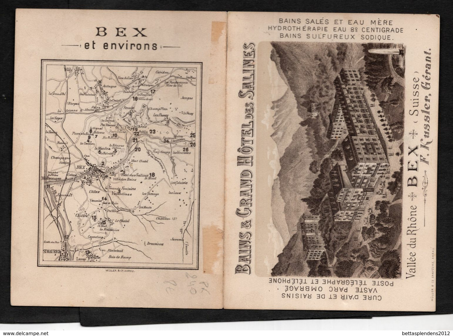 BEX (Suisse) - BAINS & GRAND HOTEL Des SALINES - F.KUSSLER Gérant - Liste Des Excursions Et Carte. - Publicités