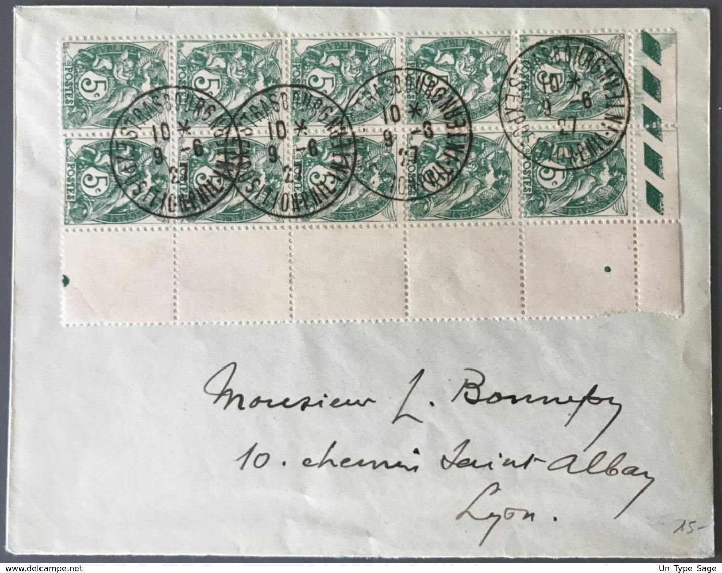 France N°111 (bloc De 10 Bord De Feuille) Sur Enveloppe - TAD STRASBOURG EXPOSITION PHIL. INTERN. - (C1427) - 1921-1960: Modern Tijdperk