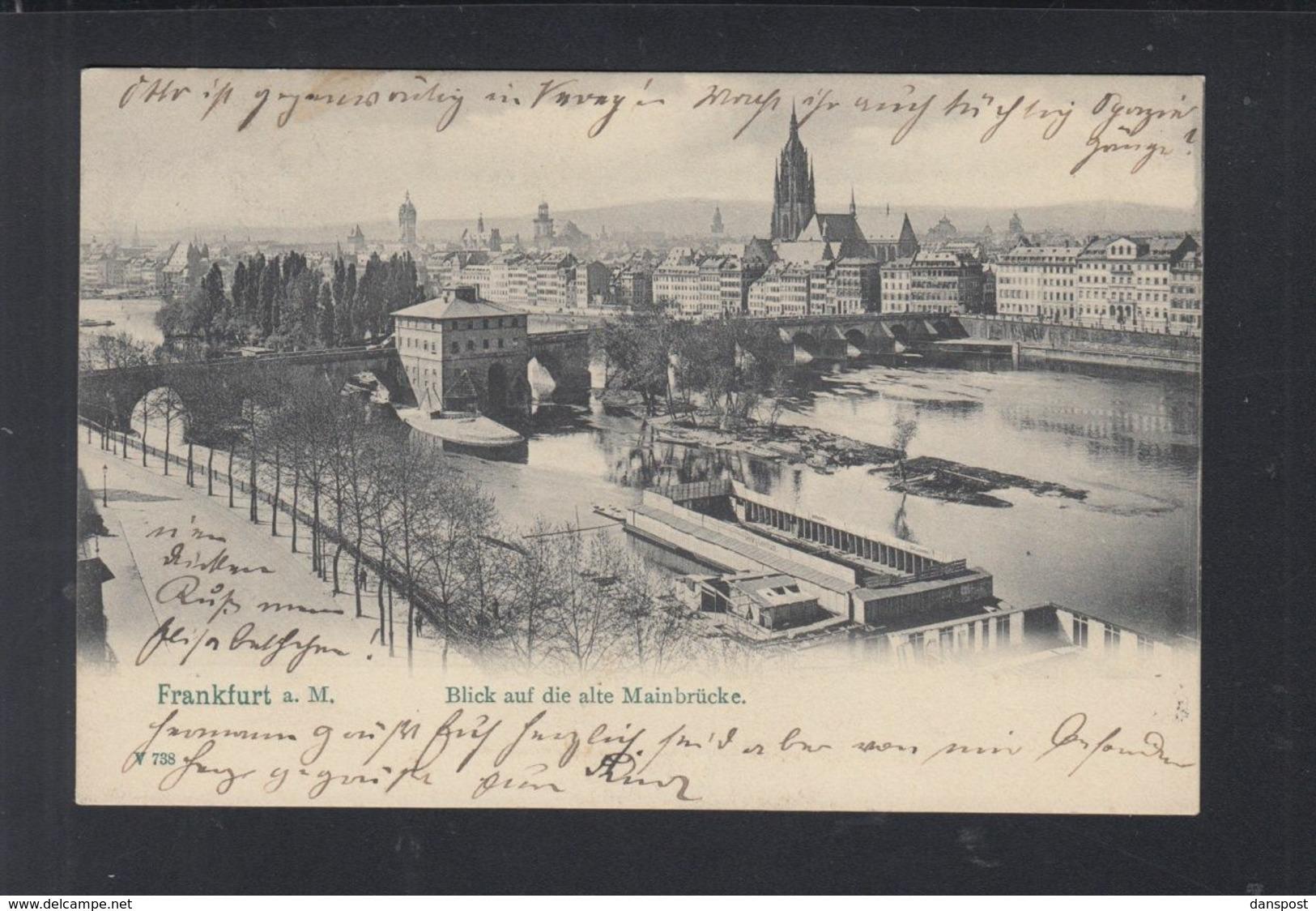 Dt. Reich AK Frankfurt Am Main Mainbrücke 1912 Lochung GP F - Deutschland