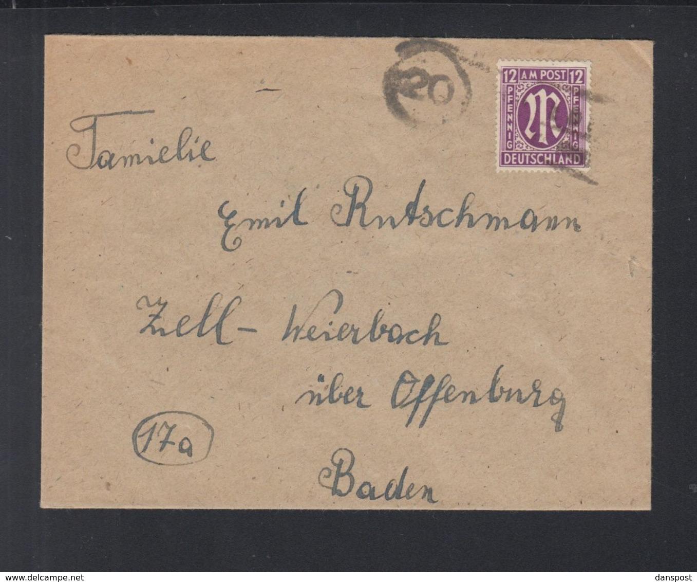 Alliierte Besetzung Brief Soltau Nach Baden - Bizone
