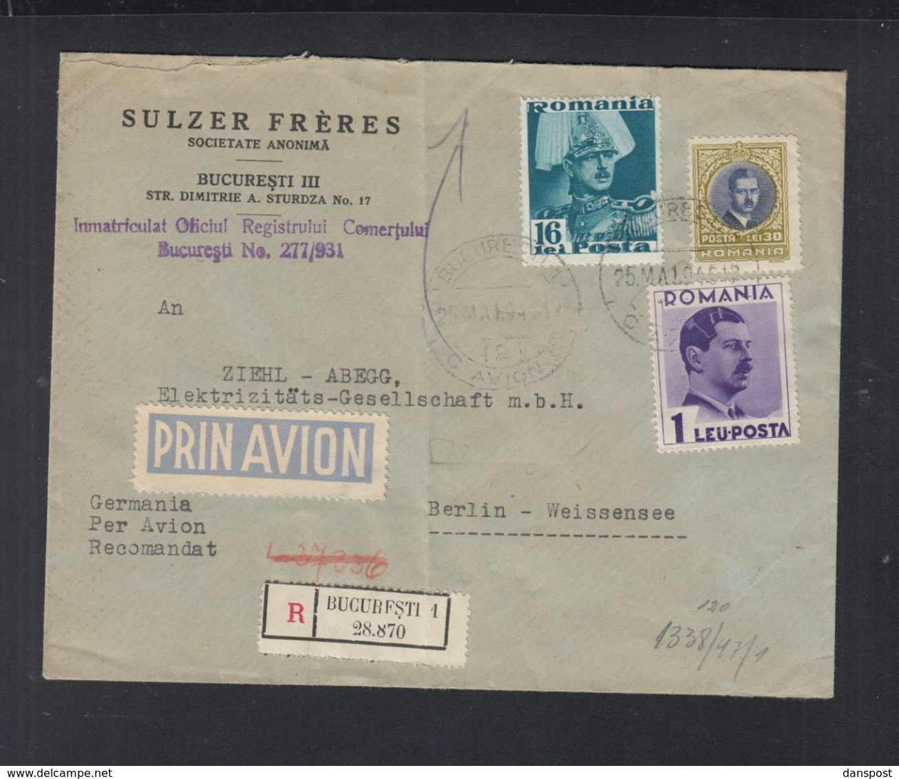 Rumänien Romania Luftpost Brief 1940 Bucuresti Nach Berlin Zensur - Briefe U. Dokumente