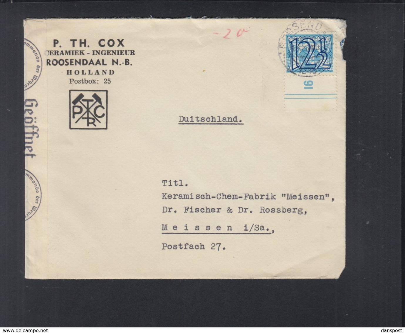 Niederlande Brief Roosendaal Nach Meissen Rand Mit Nummer - 1891-1948 (Wilhelmine)