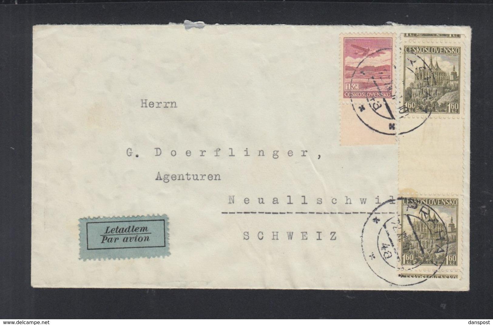 CSR Luftpost Brief 1937 Prag Nach Schweiz - Tschechoslowakei/CSSR