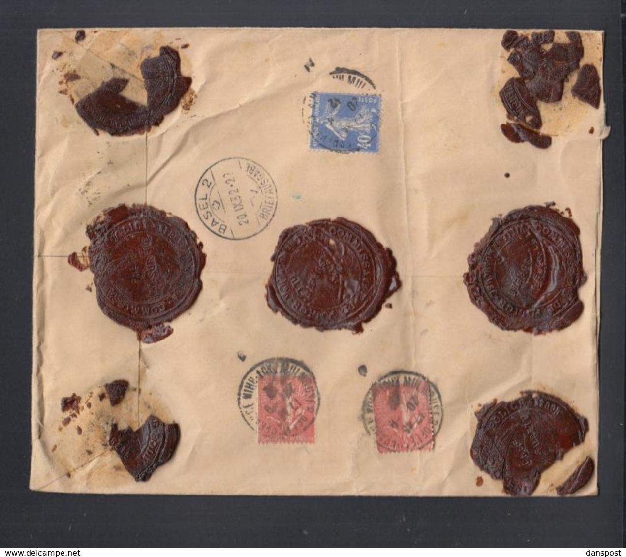 Frankreich France Wertbrief 1932 Mulhouse Nach Basel - Poststempel (Briefe)