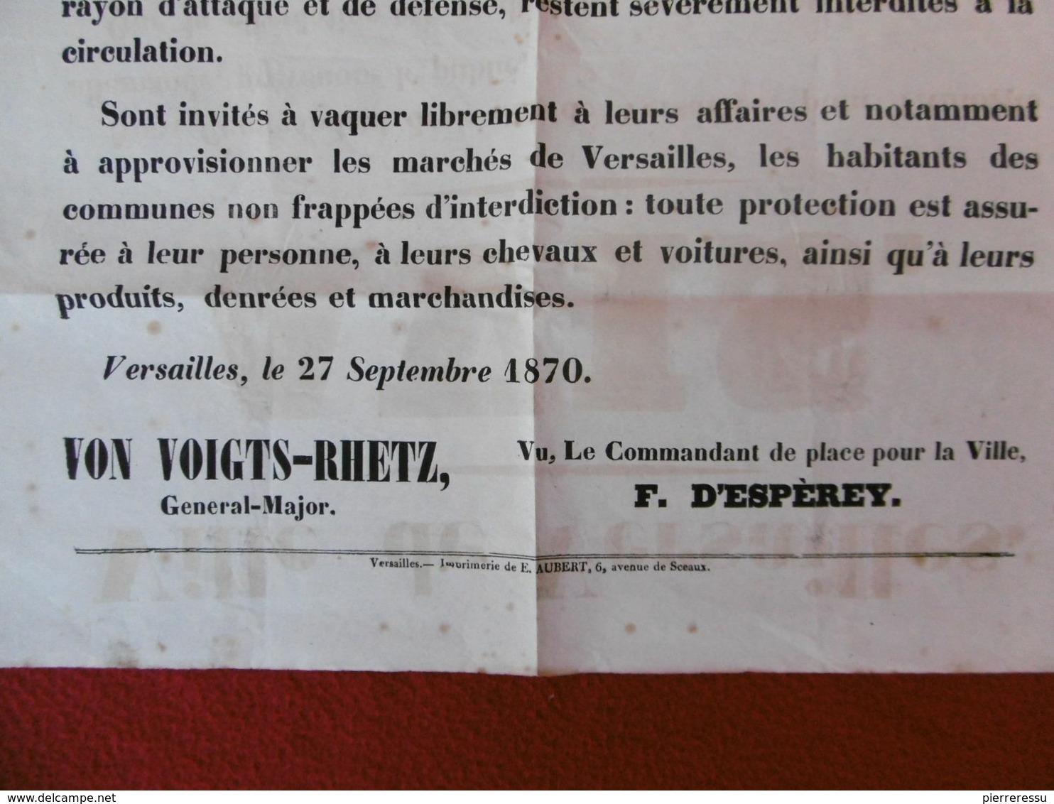 SIEGE DE PARIS AFFICHE VILLE DE VERSAILLES AVIS 27 SEPTEMBRE 1870 CACHET MORIN ENTREPRISE D AFFICHAGE & D ANNONCES - Posters